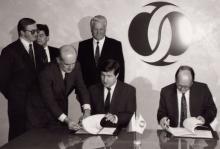 Подписание соглашения между Тюменской областью и Европейским банком реконструкции и развития; Лондон, 1992 г.